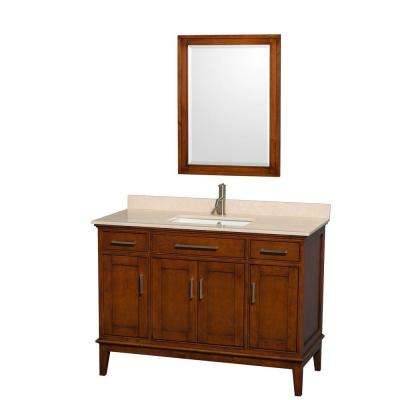 Hatton 48 in. Vanity in Light Chestnut with Marble Vanity Top in Ivory, Square Sink and 24 in. Mirror