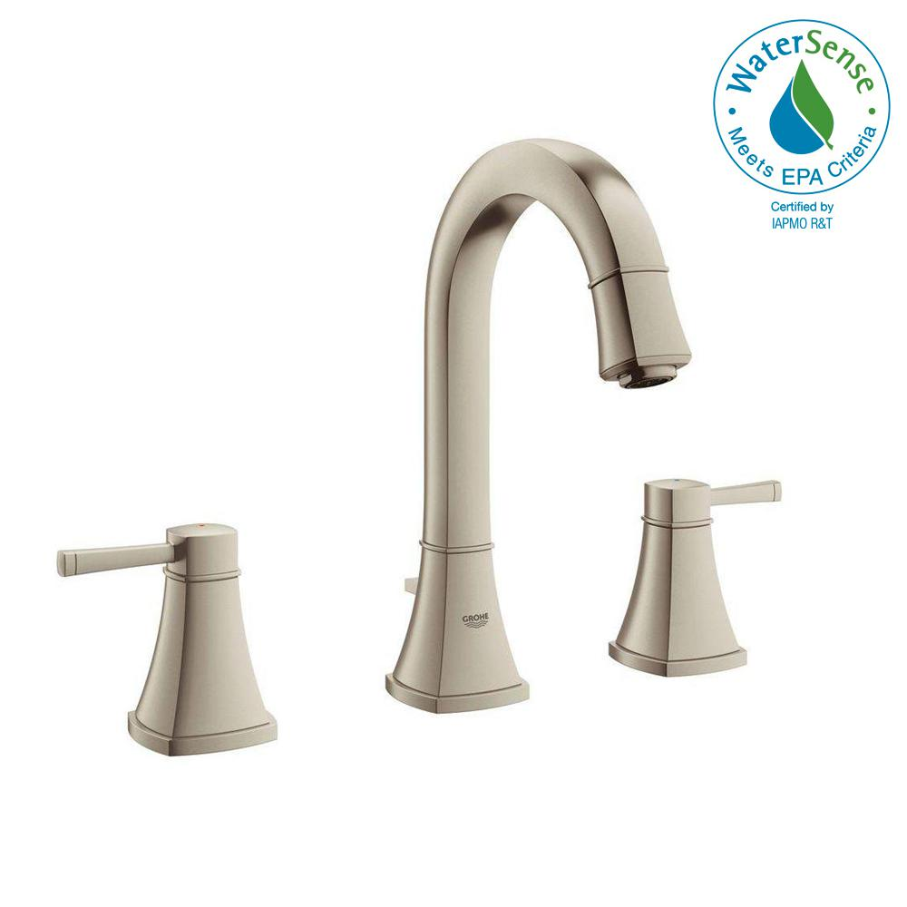 Grandera 8 in. Widespread 2-Handle High Arc Bathroom Faucet in Brushed