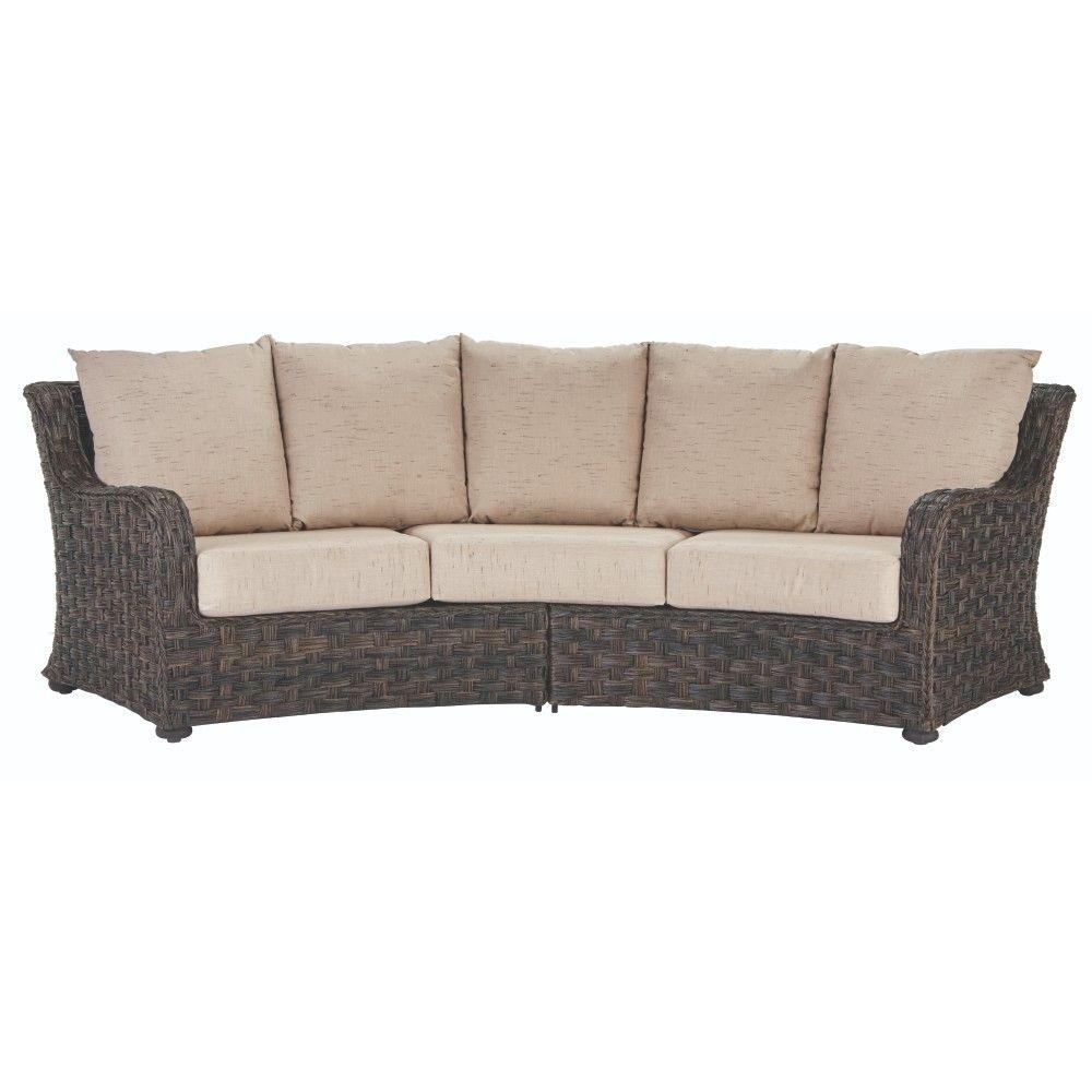 Home Decorators Collection Sunset Point Brown 3 Seater Outdoor Patio Sofa With Sand Cushions 9437200810 The Depot
