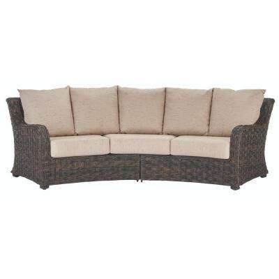 Sunset Point Brown 3-Seater Outdoor Patio Sofa with Sand Cushions