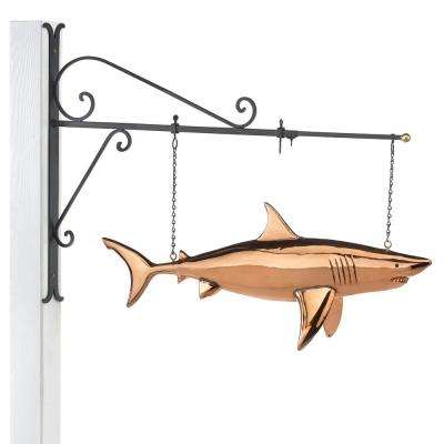 Hanging Shark Pure Copper Weathervane Sign with Decorative Bracket: Nautical Decor
