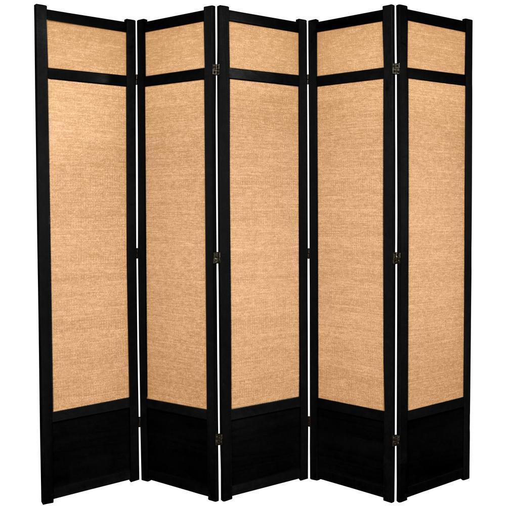 Oriental Furniture 7 ft. Black 5-Panel Room Divider