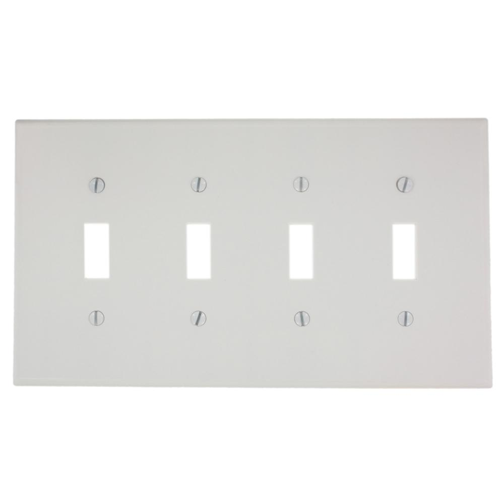 4-Gang 4-Toggle Midway Size Plastic Wall Plate, White