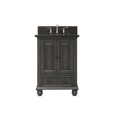 Thompson 25 in. W x 22 in. D x 35 in. H Vanity in Charcoal Glaze with Granite Vanity Top in Black with White Basin