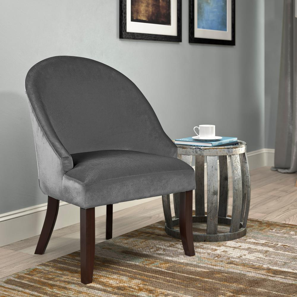 Antonio Grey Velvet Curved Accent Chair