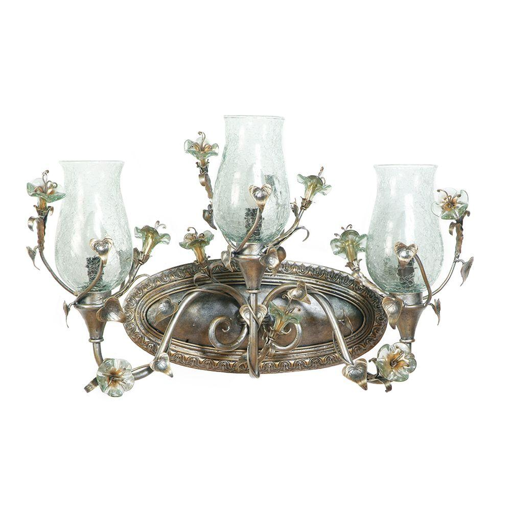 Yosemite Home Decor Morning Glory Collection 3-Light Caribbean Gold Bathroom Vanity Light with Nouvel Crackled Glass Shade