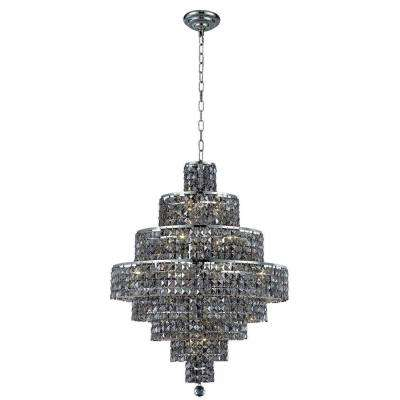 18-Light Chrome Chandelier with Silver Shade Grey Crystal