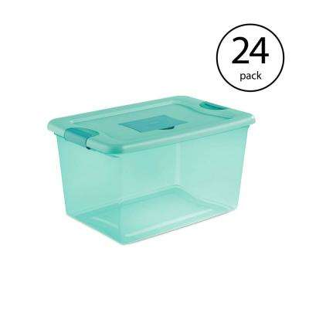Sterilite 64 Qt. Fresh Scent Stackable Plastic Storage Box Container (24-Pack)