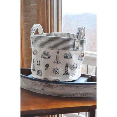 Small Nautical Navy Canvas Round Bottom Storage Tub