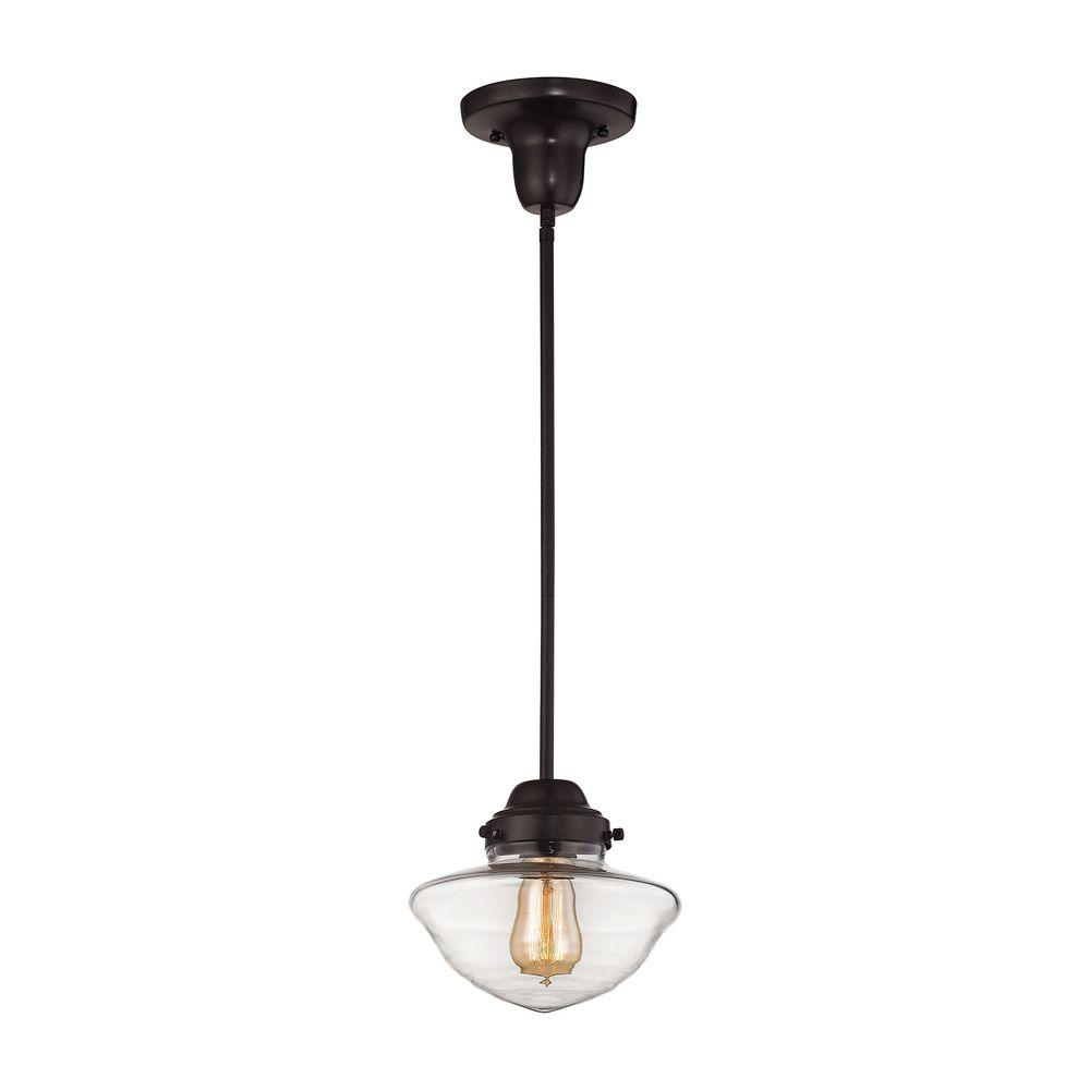 Schoolhouse Lighting Home Depot: Titan Lighting Schoolhouse Pendants 1-Light Oil Rubbed