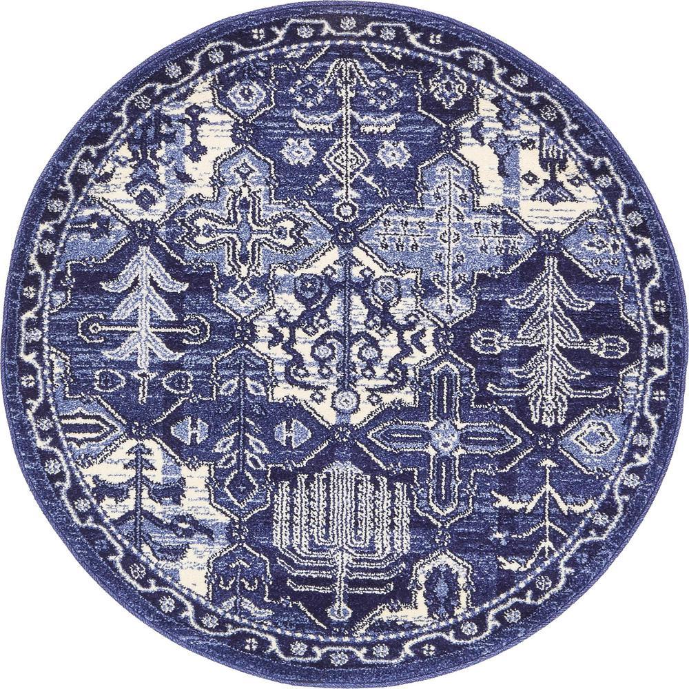 La Jolla Cathedral Blue 3' 3 x 3' 3 Round Rug
