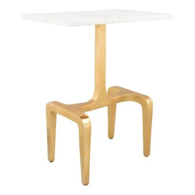 Clement White and Gold Side Table