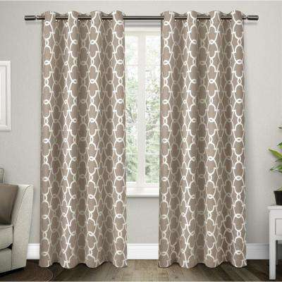 Gates 52 in. W x 84 in. L Woven Blackout Grommet Top Curtain Panel in Taupe (2 Panels)