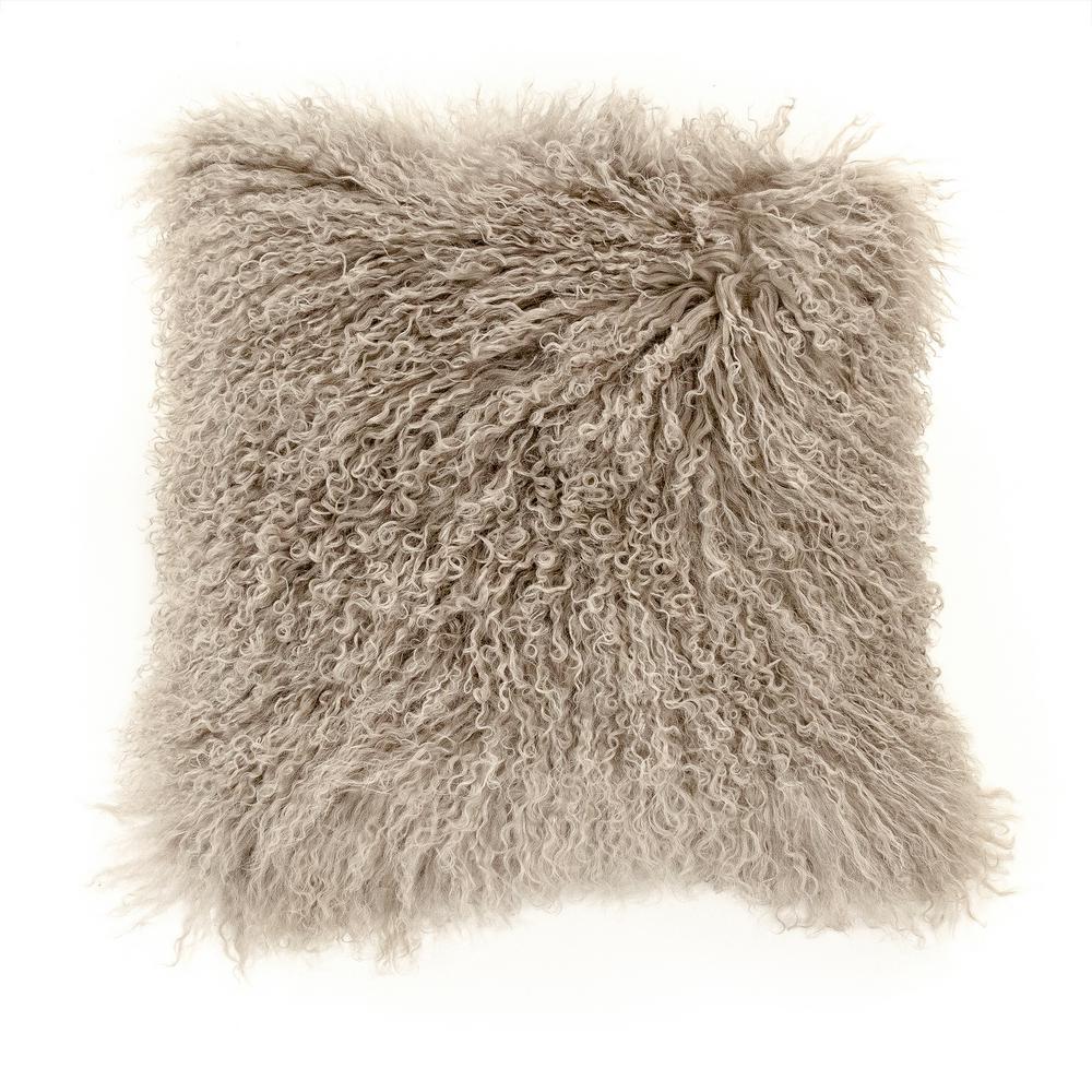 zentique Tibetan Light Grey Lamb Fur Pouf, light gray was $585.0 now $387.0 (34.0% off)