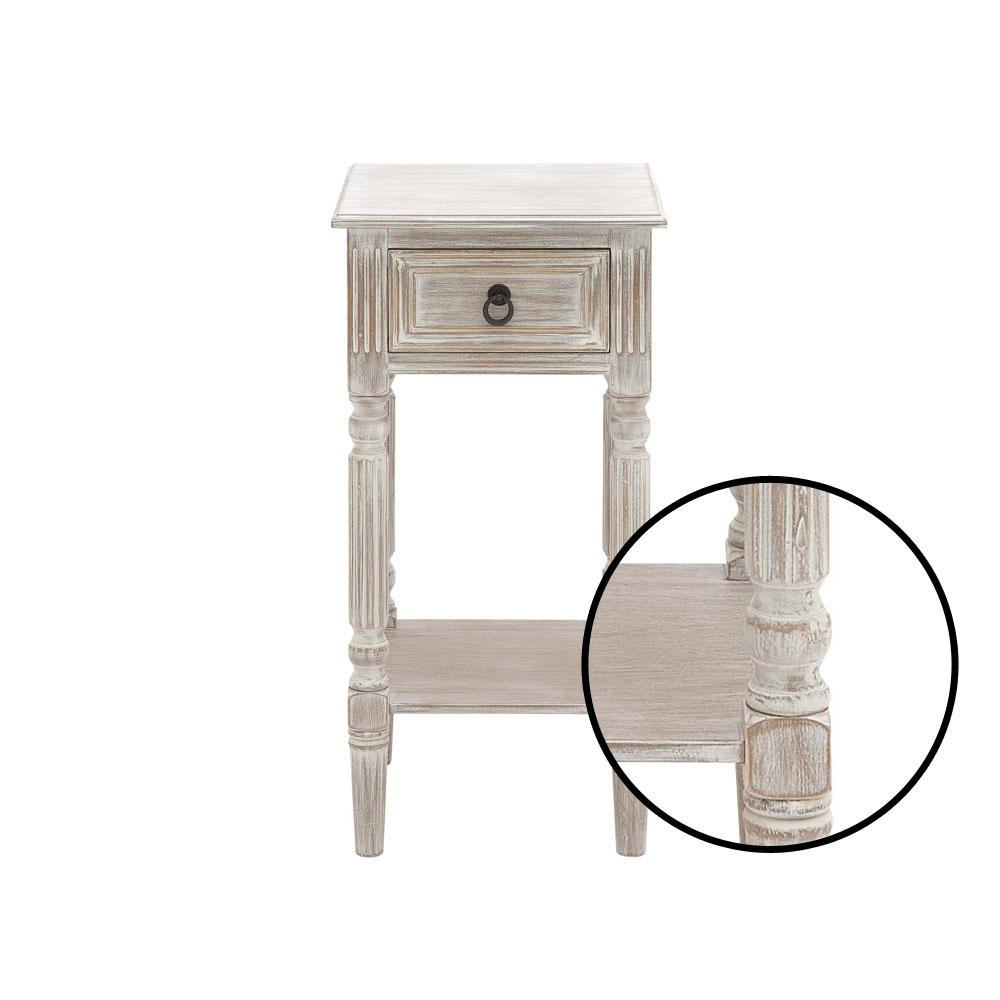 Litton Lane Whitewashed Taupe Wooden Accent Table With Drawer And