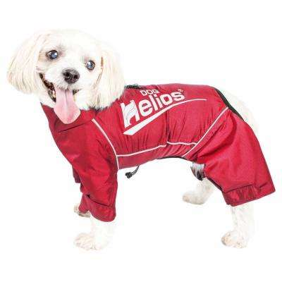 Small Red Hurricanine Waterproof and Reflective Full Body Dog Coat Jacket