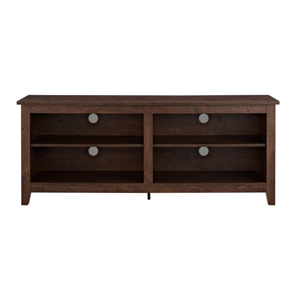 58 in. Wood TV Media Stand Storage Console - Traditional Brown