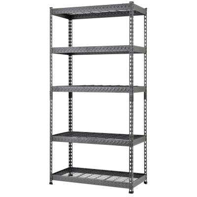 36 in. W x 72 in. H x 18 in. D Silver Tread-Plate Steel 5-Tier Garage Shelving Unit