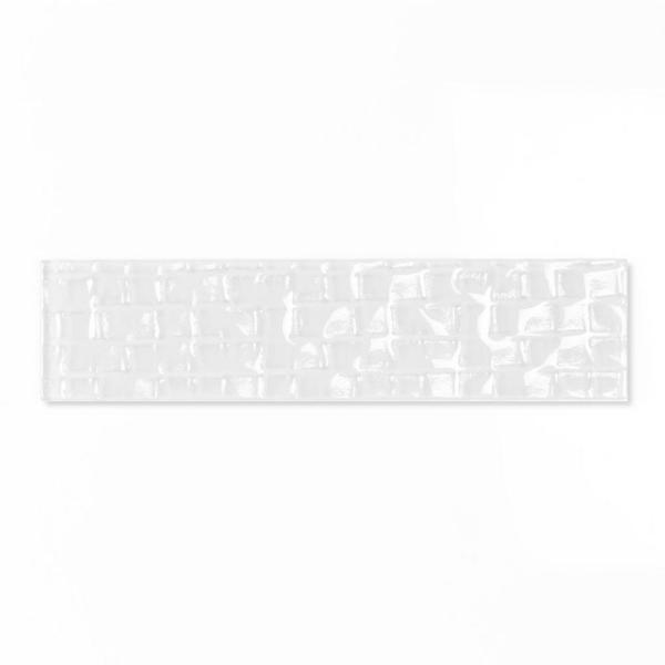 Metro Cubes White Deco 2 in. x 8 in. Glossy Glass Wall Tile (1 Sq. ft./Pack)