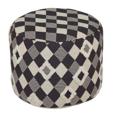 18 in. x 14 in. Checkered Chess Grey / Natural Ottoman Pouf