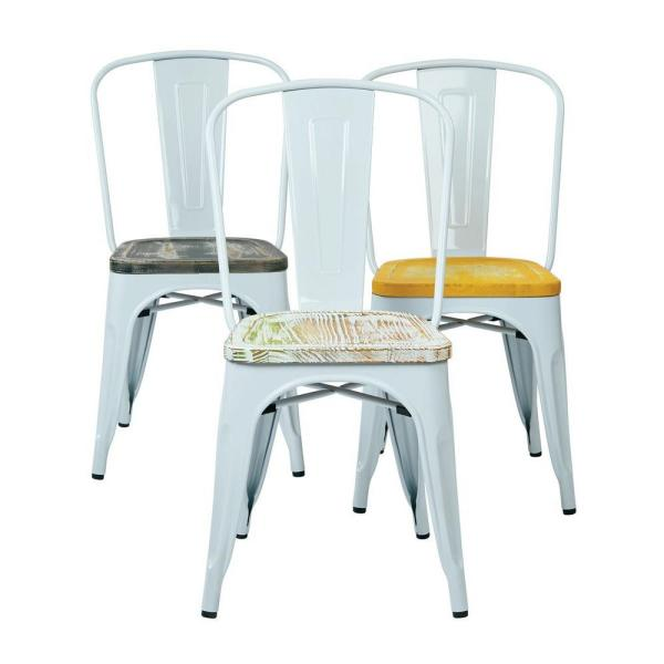 OSP Home Furnishings Bristow White and Pine Irish Metal/Wood Side Chair