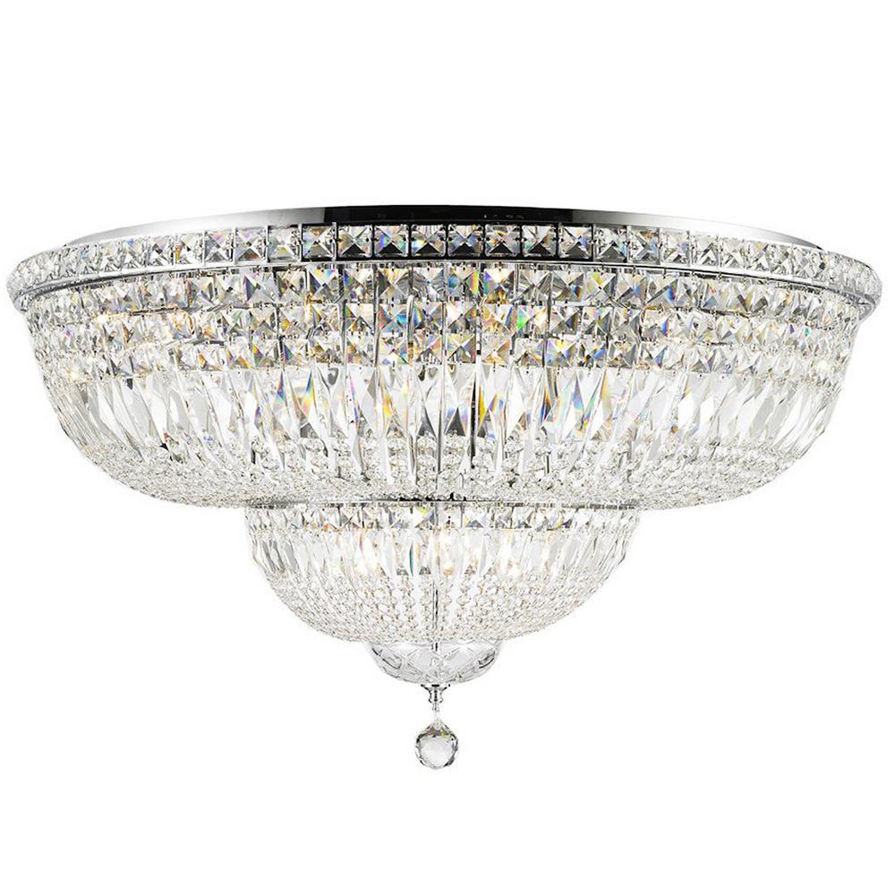 Empire 36 in. 16-Light Chrome Finish Crystal Flush Mount