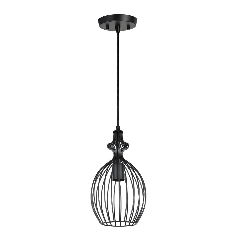 Aspen Creative Corporation 1 Light Matte Black Mini Pendant With Metal Wire Shade