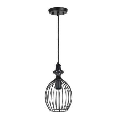 1-Light Matte Black Mini Pendant with Metal Wire Shade