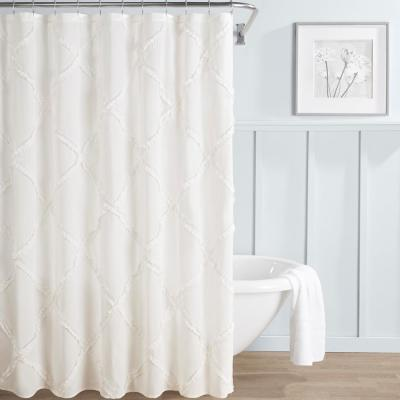 Adelina White Cotton 72in X 72in Shower Curtain