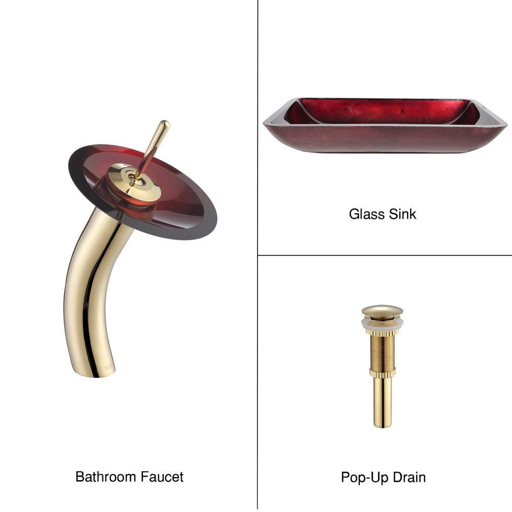 KRAUS Rectangular Glass Bathroom Sink in Irruption Red with Single-Handle Low-Arc Waterfall Faucet in Gold-DISCONTINUED