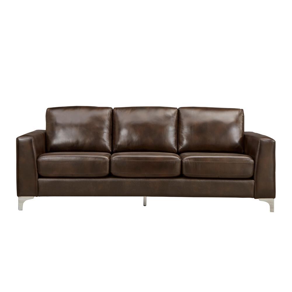 +4. HomeSullivan Russel 1 Piece Chocolate Leather Sofa