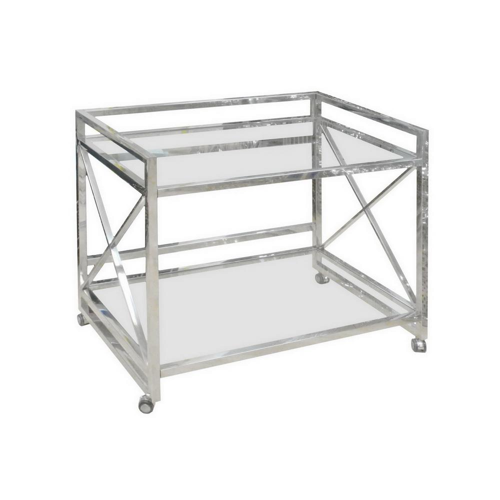 Superbe Silver Bar Cart Table