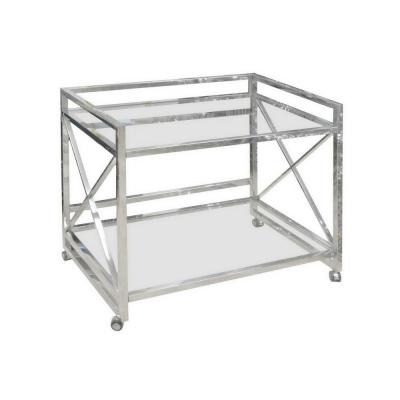 31.5 in. Silver Bar Cart Table