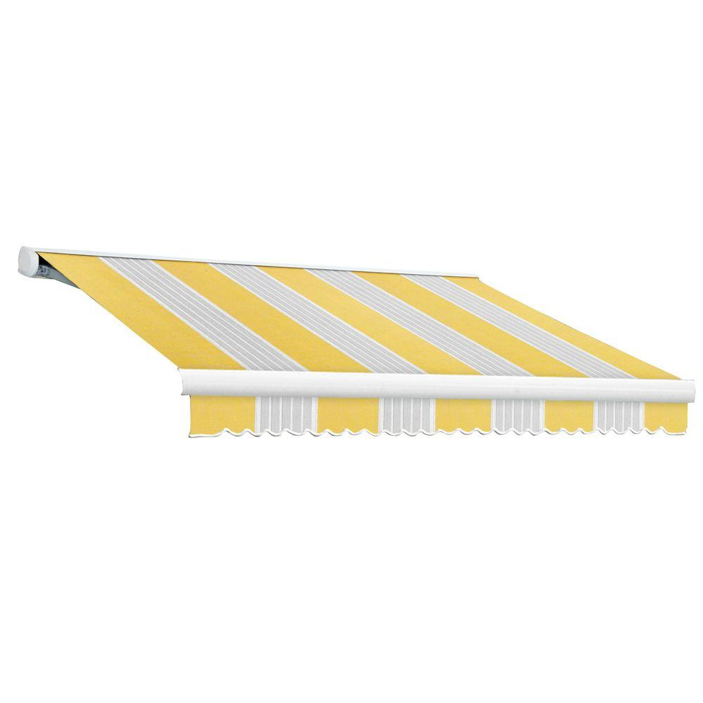 null 8 ft. Key West Full-Cassette Right Motor Retractable Awning with Remote (84 in. Projection) in Yellow/Gray/Terra