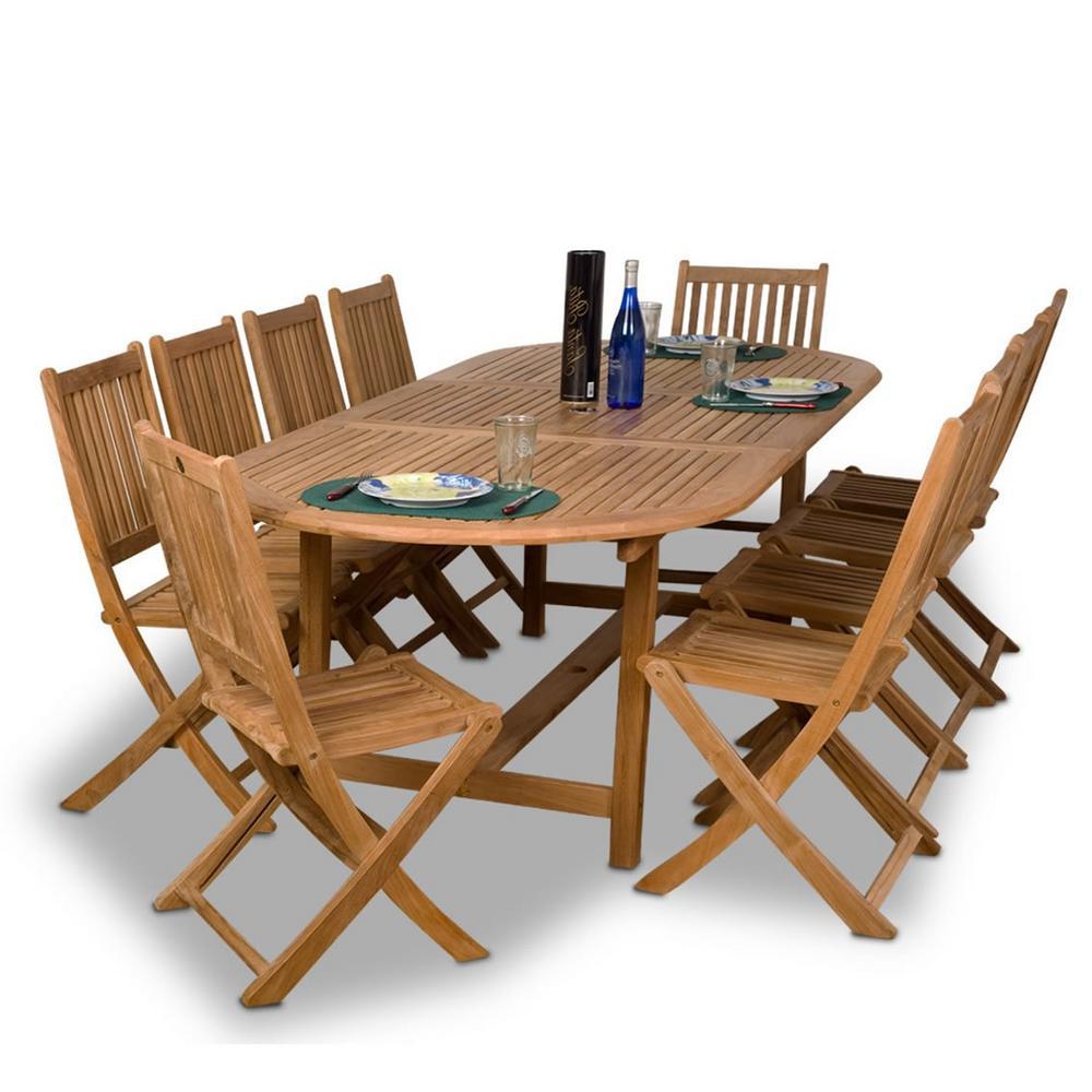 Bergen 11-Piece Wood Outdoor Dining Set