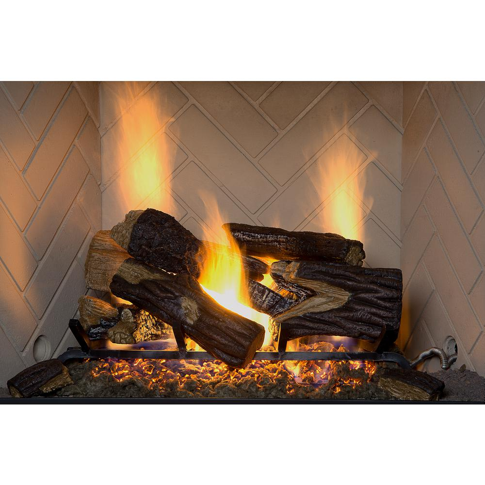 Burnt River Oak 18 in. Vented Gas Log Set NG/LP with