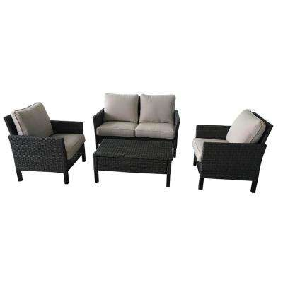Paloma Lake 4-Piece Wicker Woven Patio Seating Set with Putty Solarte Cushions