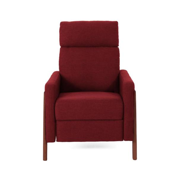 Noble House Hadrian Mid-Century Modern Deep Red Fabric Push Back Recliner
