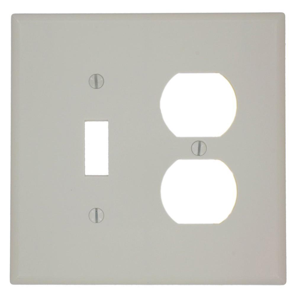 2-Gang Midway Size 1-Toggle 1-Duplex Receptacle Plastic Combination Wall Plate,