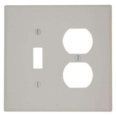 2-Gang Midway Size 1-Toggle 1-Duplex Receptacle Plastic Combination Wall Plate, Light Almond