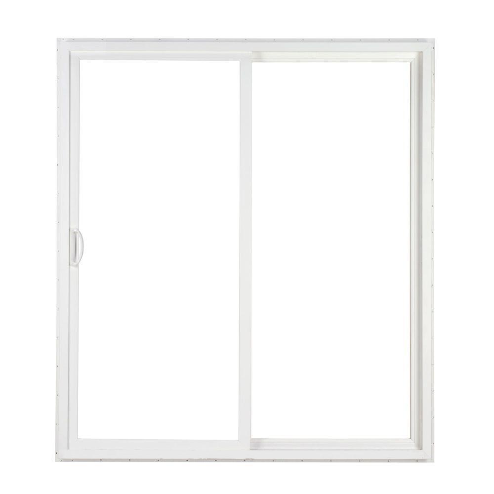 Simonton 96 in x 80 in 2 panel white contemporary vinyl for Vinyl sliding glass doors