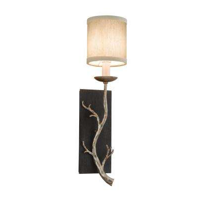 Adirondack 1-Light Graphite and Silver Leaf Sconce