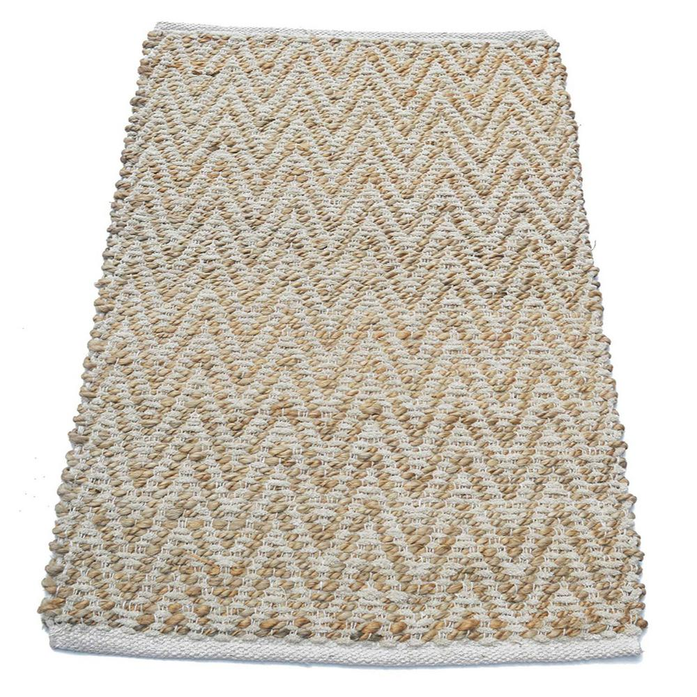 Benzara Ivory Jute And Cotton Chenille 2 8 Ft L X 1 W Chevron Rug