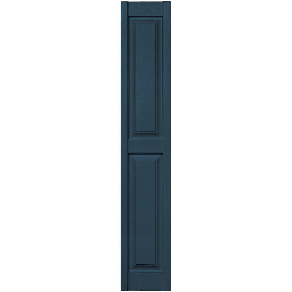 12 in. x 67 in. Raised Panel Vinyl Exterior Shutters Pair
