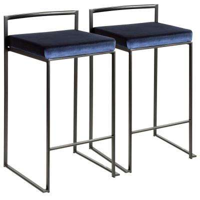 Fuji 26 in. Black Stackable Counter Stool with Blue Velvet Cushion (Set of 2)