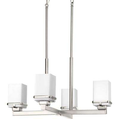 Metric Collection 4-Light Brushed Nickel Chandelier with Shade with Etched Opal Glass Shade