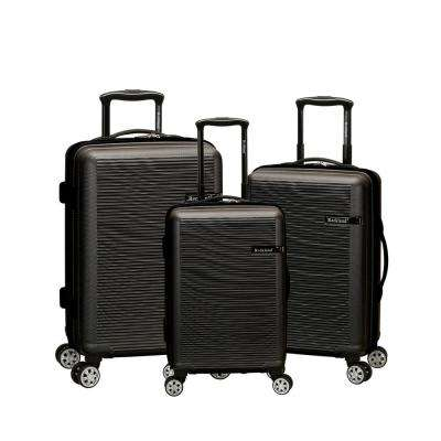 Skyline Collection 3-Piece Grey Harside Dual Spinner Luggage Set