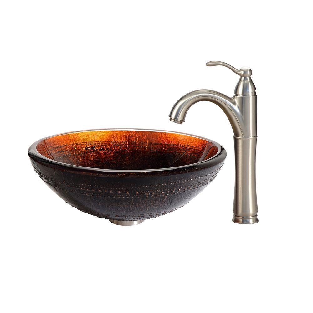 KRAUS Prometheus Glass Vessel Sink in Brown with Riviera Faucet in Satin Nickel