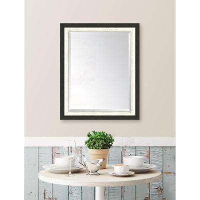 28 in. x 34 in. Framed Slate Black and White Mirror