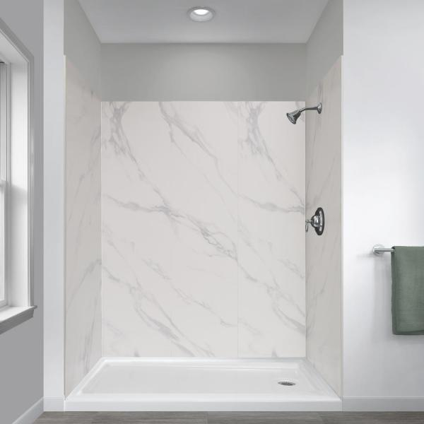 Jetcoat 32 in. x 60 in. x 78 in. 5-Piece Easy-up Adhesive Alcove Shower Surround in Carrara White